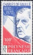 French Polynesia 1980 General Charles de Gaulle/ People/ Military/ WWII/ Politics 1v (n45577)