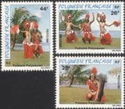 French Polynesia 1981 Folklore/ Dancing/ Dancers/ Costume/ Music/ Dance/ Drum/ Instruments 3v set (n45311c)
