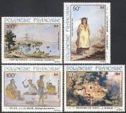 French Polynesia 1982 Art  /  Paintings  /  Ship  /  Transport  /  Costumes  /  People 4v set n34134