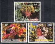 French Polynesia 1984 Floral Headdresses/ Hats/ Flowers/ Nature/ Costumes 3v set (n37477)