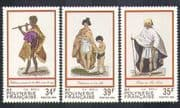 French Polynesia 1984 Traditional Costumes/ Clothes/ Dress/ People/ Flute/ Music 3v set (n37476)