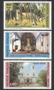 French Polynesia 1985 Churches  /  Cathedral  /  Buildings  /  Architecture  /  Trees 3v n35994