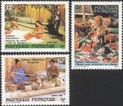 French Polynesia 1986 Folklore/ Clothes/ Costumes/ Design/ Craft/ Art 3v set (n45311b)
