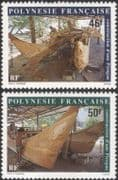 French Polynesia 1986 Pirogue Making/ Canoes/ Boats/ Transport 2v set (n45311g)