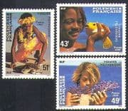 French Polynesia 1986 Turtle  /  Fish  /  Coral  /  Marine  /  Nature  /  People 3v set (n37488)