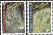 French Polynesia 1987 Rock Art/ Turtle/ Carvings/ History/ Heritage 2v set (n45313m)