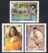 French Polynesia 1989 Folklore  /  Song  /  Singing  /  Sports  /  Festivals 3v set (n37503)