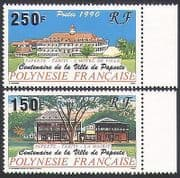 French Polynesia 1990 Buildings  /  Architecture  /  Trees  /  Nature  /  History 2v set n35989