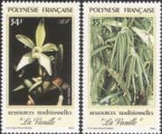 French Polynesia 1990 Vanilla/ Orchids/ Flowers/ Nature/ Fruit/ Food 2v set (n31052)