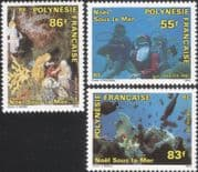 French Polynesia 1991 Christmas/ Greetings/ Nativity/ Crib Figures/ Diving/ Divers/ Coral/ Fish/ Marine/ Nature 3v n45228