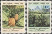 French Polynesia 1991 Pineapple/ Fruit/ Plants/ Food/ Palm Trees/ Nature 2v set s/a (n37507)