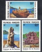 French Polynesia 1991 Sculptures  /  Carvings  /  Art  /  Craft  /  Statues 3v set (n37455)