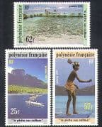 French Polynesia 1991 Stone Fishing  /  Canoes  /  Fish  /  Food  /  Boats  /  Transport 3v (n36361)