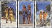 French Polynesia 1993 World Tourism Day/ Women/ Palm Trees/ Beach/ Clothes/ Costumes/ Palms/ Nature 3v set (n45313f)