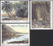 French Polynesia 1994 Canoes/ Bamboo/ People/ Palm Trees/ Palms/ Nature/ History? Transport 3v set (n45313g)