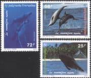 French Polynesia 1994 Humpback Whales/ Dolphins/ Marine/ Nature/ Wildlife 3v set (n45311a)
