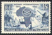 French West Africa 1955 Rotary 50th Anniv/ People/ Tractor/ Palm Trees/ Ship/ Harbour Crane/ Trade/ Industry/ Commerce 1v (n41747)