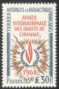 FSAT/TAAF 1968 Human Rights/ Flame/ UN/ United Nations/Fire 1v (n43010)