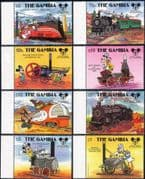 Gambia 1987 Disney/ Mickey 60th/ Trains/ Steam Engines/ Railways/ Cartoons/ Animation 8v set (b245y)