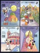 Gambia 1992 Disney  /  StampEx  /  Mickey  /  Donald 4v set  d00155