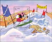 Gambia 1993 Disney/ Winter Sports/ Minnie/ Skiing/ Rabbits/ Cartoons/ Animation 1v m/s (ad1079)
