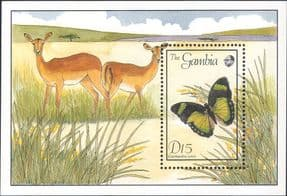 Gambia 1994  Butterfly/ Insects/ Nature/ Butterflies/ Deer/ Wildlife  1v m/s  (s3781e)
