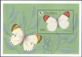 Gambia 1994  Butterfly/ Insects/ Nature/ Butterflies/ Plants/ Wildlife  1v m/s  (s3781b)
