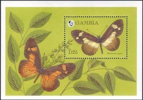 Gambia 1994  Butterfly/ Insects/ Nature/ Butterflies/ Plants/ Wildlife  1v m/s  (s3781d)