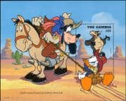 Gambia 1995 Disney/ Cowboys/ Goofy/ Donald/ Horses/ Cattle/ Cartoons/ Animation  1v m/s (ad1009)