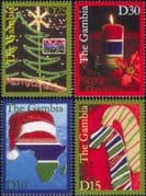 Gambia 2009  Christmas/ Greetings/ Candle/ Tree/ Map/ Candy Canes  4v set (n46355)