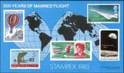 "GB 1983 ""STAMPEX 1983""/ Concorde/ Space/ Air Balloons/ Flight/ Planes/ Aircraft/ Astronauts/ Transport imperforate m/s (exhibition sheet)  (b4963)"