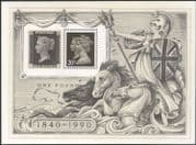 GB 1990 Penny Black 150th/ Horses/ Queen Victoria/ StampEx/ Nature 1v m/s (n17670)