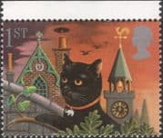 GB 1991 Greetings/ Good Luck/ Black Cat/ Clock Tower/ Chinmey Sweep Brush/ Fortune 1v (n30824g)