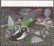 GB 1991 Greetings/ Good Luck/ Magpie/ Lucky Charms/ Birds/ Cat/ Nature/ Fortune 1v (n30824e)