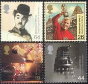 GB 1999 Millennium/ Moore/ World Cup Football/ Dalek/ Dr Who/ Charlie Chaplin/ Film/ Music/ TV 4v set (n18247)