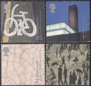 GB 2000 Millennium/ Bikes/ Lowry/ Art/ Painting/ Tate/ Cycling/ Buildings 4v set n22487