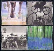 GB 2000 Millennium  /  Horses  /  Cycling  /  Flowers  /  Sport  /  Bikes  /  Transport 4v set (b8877p)