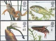 GB 2001 Europa/ Pond Life/ Frog/ Beetle/ Dragonfly /Fish/ Nature/ Frogs/ Dragonflies 4v set (n42023)
