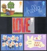 GB 2002 Greetings/ Plane/ Aircraft/ Rabbit/ Teddy Bear/ Baby/ Love/ Animation 5v set (b6283)