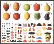 GB 2003 Fruit  /  Veg  /  Funny Faces 10v + lbls s  /  a sht n22498