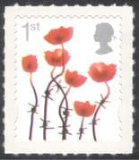 GB 2006 Lest We Forget/ Poppies/ Barbed Wire/ Military /Remembrance 1v s/a (b1641e)