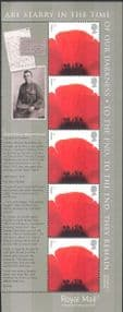 GB 2007 Lest We Forget/ Poppies/ Soldiers/ Army/ War/ Flowers/ Military/ WWI/ Letters/ Photography 5v stp + lbl (b8680p)