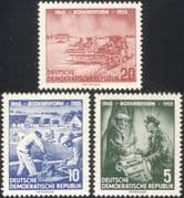 Germany 1955 Land Reform Charter 10th Anniversary/ Farmers/ Tractor/ Bricklayer/ Houses/ Workers 3v set (n44580)