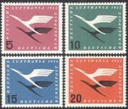 Germany 1955 Lufthansa Airways/ Airlines/ Flight/ Aviation/ Transport/ Industry/ Business/ Commerce 4v set (n43095)
