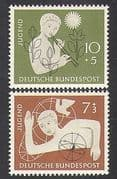 Germany 1956 Youth Hostel Fund  /  Dove  /  Music  /  Birds  /  Nature  /  Welfare 2v set (n37077)
