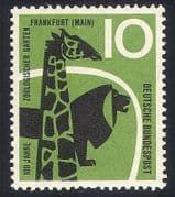 Germany 1958 Animals  /  Zoo  /  Lion  /  Giraffe  /  Nature 1v  n27879