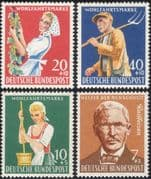 Germany 1958 Welfare/ Farming/ Grapes/ Wine/ People/ Charity 4v set (n28307)