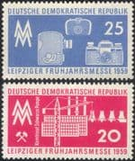 Germany 1959 Leipzig Fair/ Cameras/ Crane/ Factory/ Industry/ Commerce/ Business 2v set (n44579)