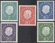 Germany 1959 President Heuss/ Politicians/ Politics/ People/ Government 5v set (n43634)