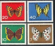 Germany 1962 Butterflies  /  Insects  /  Welfare  /  Nature  /  Animation 4v set (b372)